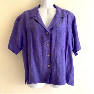 Chico's Purple Rayon Linen Short Sleeve Camp Shirt
